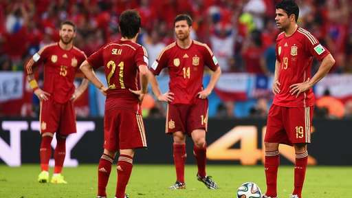Spain Players Regroups After Conceding Against Chile.