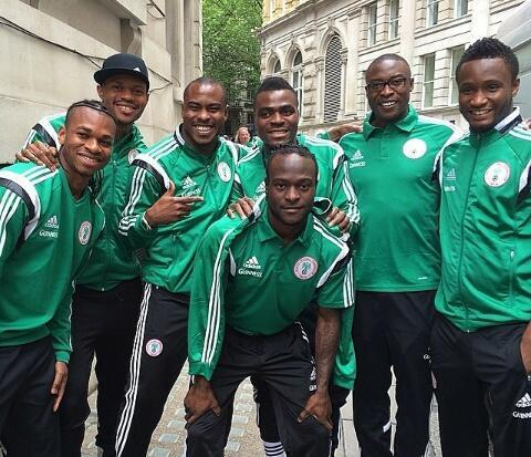 Super Eagles Players Pose for a Snap Shot in Their Hotel Premise in Jacksonville, USA.