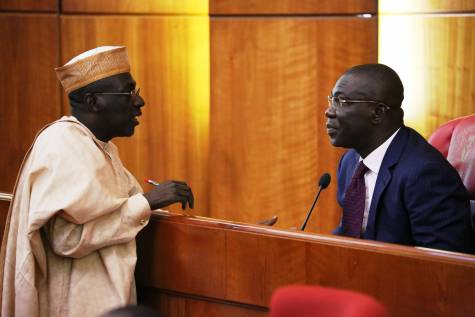 SENATOR AHMED MAKARFI DISCUSSING WITH DEP. SENATE PRESIDENT, IKE EKWEREMADU