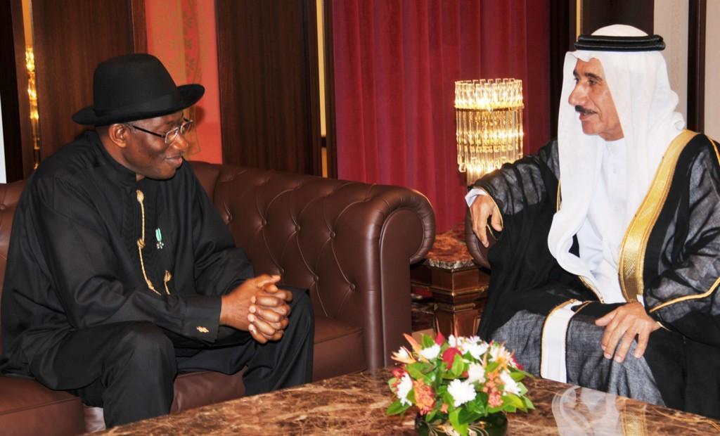 PRESIDENT GOODLUCK JONATHAN WITH UAE AMBASSADOR, MAHMUD AL-MAHAMUD