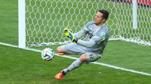 Cesar Saves Mauricio Pinillas of Chile's Penalty During Brazil's Second Round Win.