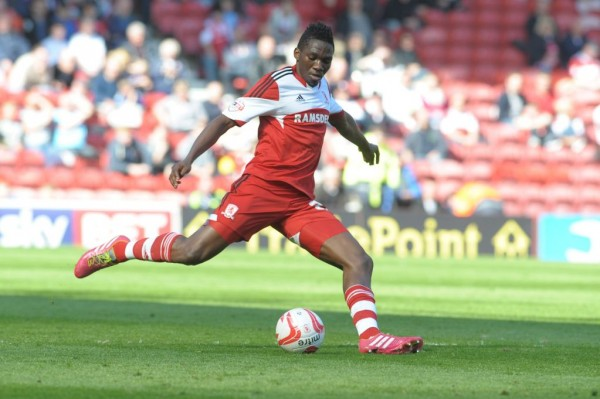 Kenneth Omeruo In Action for Middlesbrough During the 2013/14 Coca-Cola Championship Campaign.