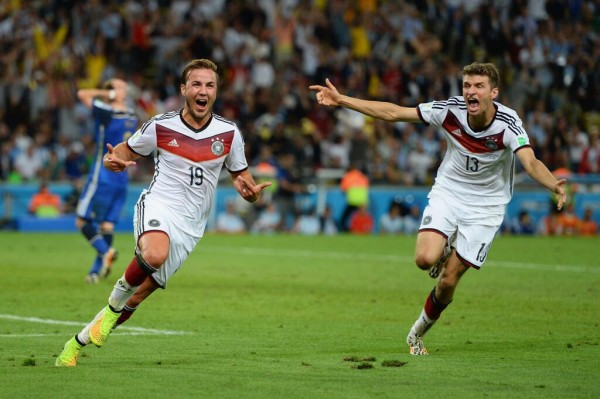 Mario Gotze Celebrates World Cup Goal With Thomas Muller. Image: Fifa via Getty Image.