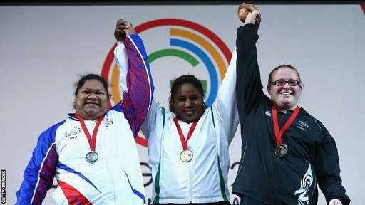 Maryam Usman Celebrates Winning Team Nigeria's Sixth Gold Medal on the Podium. Image: BBC Via Getty Image.