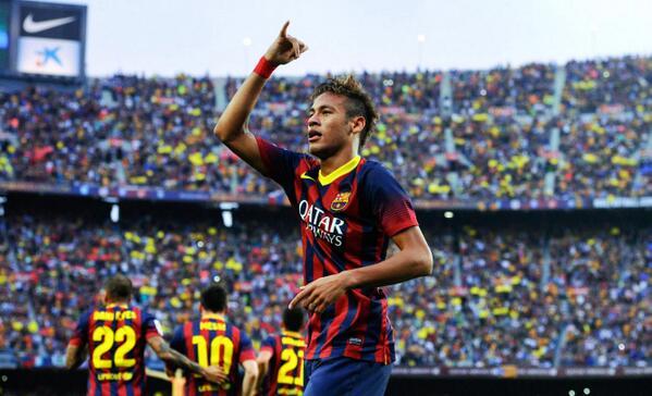 Neymar Celebrates his First El- Clasico Goal at the Camp Nou.