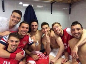 Mikel Arteta and Team Mates after Facup win