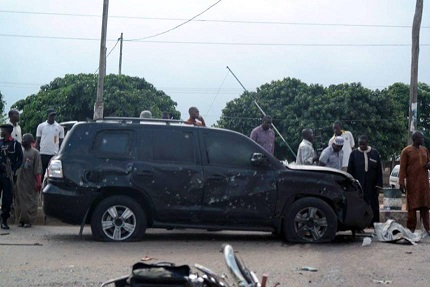 GEN. BUHARI'S BULLET RIDDLED SUV AFTER THE ATTACK YESTERDAY IN KADUNA