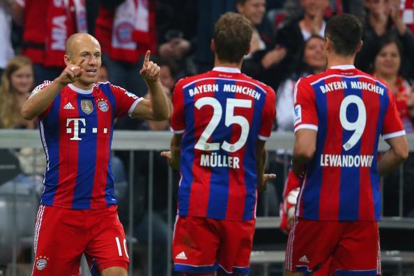 Arjen Robben Celebrates Scoring Bayern Second Goal at the Allianz Arena.