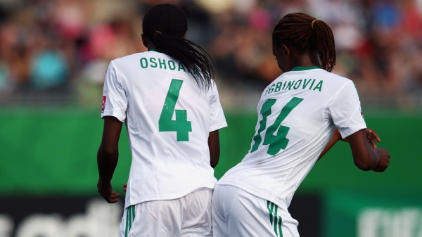 Asisat Oshoala Celebrates With Her Team-Mate During the Semi-Final Game Against Korea DPR in Moncton. Image: Getty
