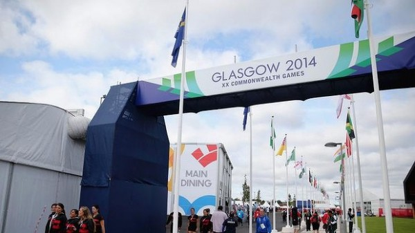 An Entrance to the Athletes' Village in Glasgow, Scotland.