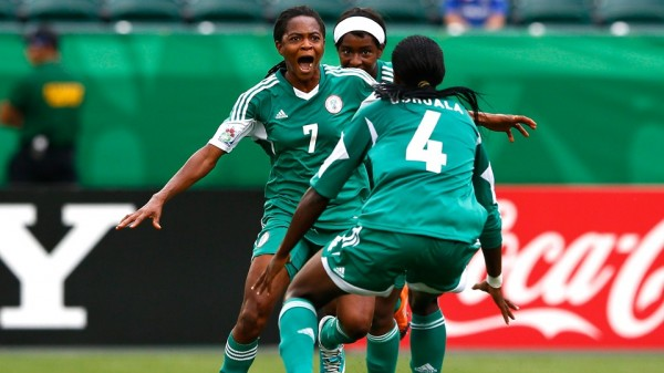 Loveth Ayila Celebrates Equalising for Nigeria in Edmonton. Getty Image.