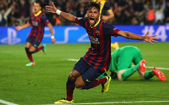 Neymar Celebrates Goal Against Atletico Madrid Last Season.