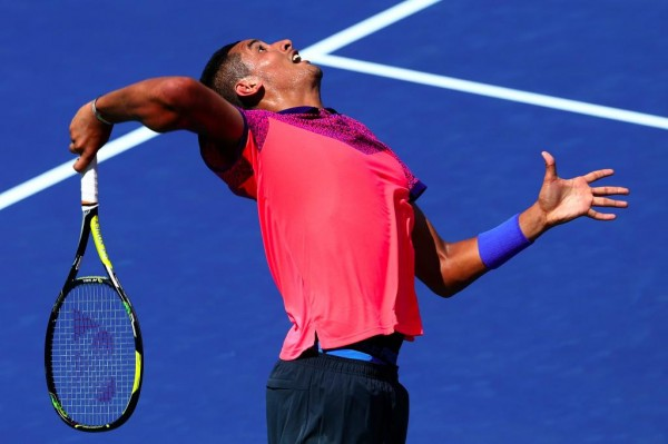 Nick Kyrgios Serves Against Mikhail Youzhny on Day 2 of the US Open.