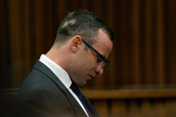 Oscar Pistorius Sobs During Trial in Pretoria. AP.