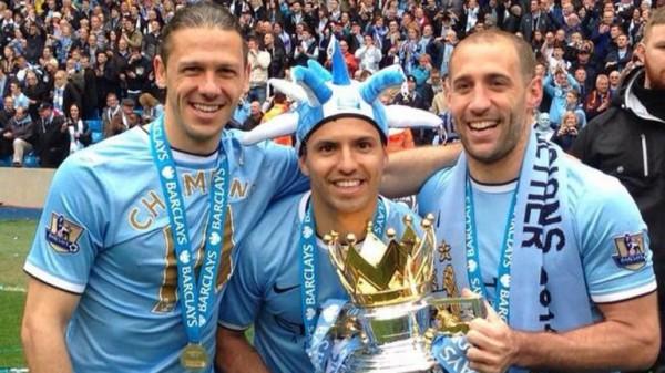 Man City's Three Argentine Players Celebrate the 2013/14 Premier League Triumph.