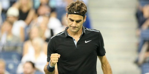 Roger Federer Pumps His Fist During His Win Over Matosevic 'Mad Dog' in the 1st Round of the 2014 US Open.