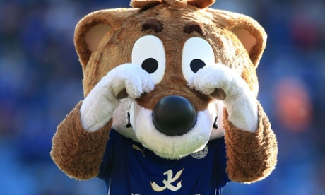 Leicester City mascot Filbert Fox taunts the Arsenal fans by rubbing his eyes after the Premier League draw at the King Power Stadium.