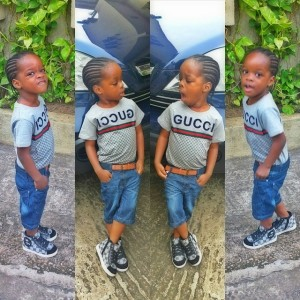 See Adorable Photos Of Wizkid's Son Wearing Gucci Head-Toe