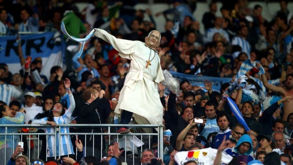 Argentina Fans Even Had Relic of Pope Francis in the Air at the World Cup in Brazil. Image: Getty.