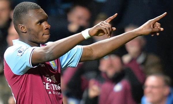 Christian Benteke Celebrates Scoring for Aston Villa. Image: AFP/Getty.