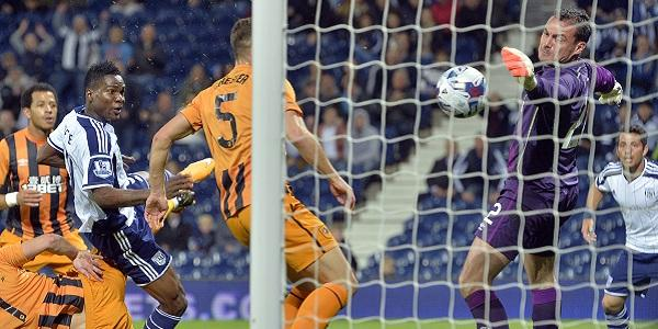 Brown Ideye Scores His First West Brom Goal in a Capital One Cup Win Over Hull City. Image: Adam Fradgley for WBA.