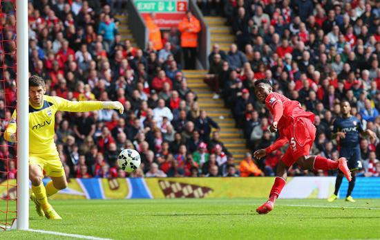 Daniel Sturridge Converts a header from Close Range Against Southampton on Opening Day of the Season. Image: Getty.