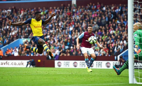 Danny Welbeck Scores His First Arsenal Goal at Villa Park. Image: Getty.