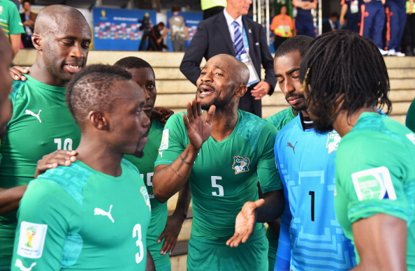 Zokora Passes Words of Inspiration to His Team-Mates Before the Start of the Second Half of a 2014 World Cup Group Game Against Colombia at the Estadio Nacional. Image: Stuart Franklin - FIFA/FIFA via Getty.