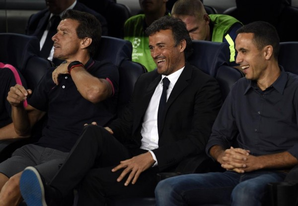 Luis Enrique in a Relaxed Mood in the Early Minutes of Yesterday. Image: AFP.