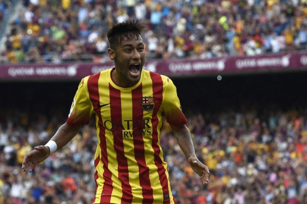 Neymar Celebrates His Goal Against Athletic Bilbao at the Camp Nou. Image: Getty.