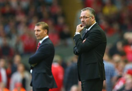 Paul Lambert Flanked On the Touchline By Liverpool Boss Brendan Rodgers During Aston Villa's Win at Anfield. Image: Getty.