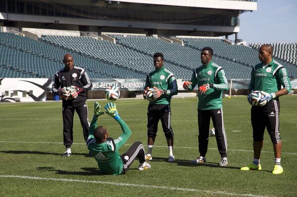 Vincent Enyeama and His Understudies During a Training Session Ahead of this Year's World Cup. Image: Super Eagles.