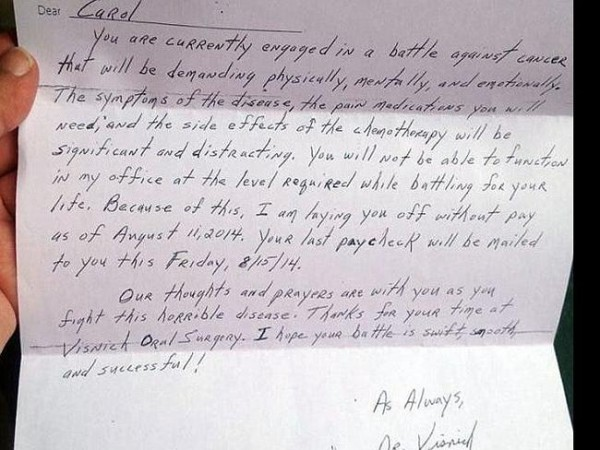 letter to cancer patient
