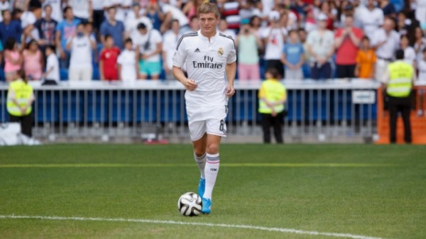 Toni Kroos Delighted By the Crowd Turnout During His Presentation at Real Madrid's Santiago Bernabeu Stadium.