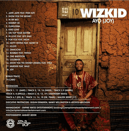 Wizkid Finally Unveils Album Front and Back Cover