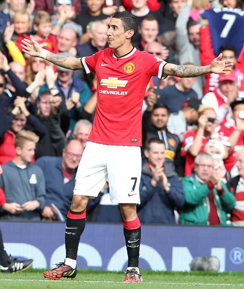 Angel Di Maria Celebrates His Opening Strike Against Everton at Old Trafford. Image: Man Utd via Getty.
