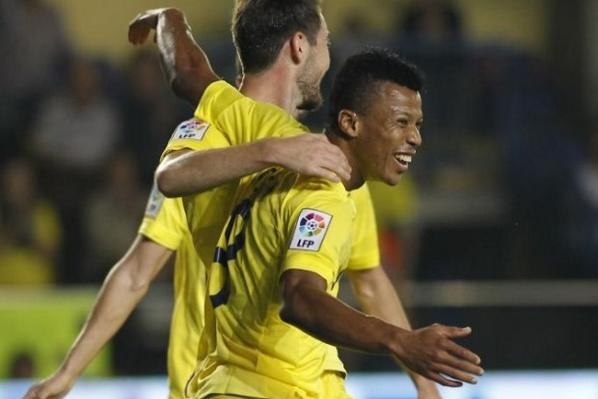 Uche Celebrates His Match-Winning Brace at the Estadio El Madrigal. Image: AFP.