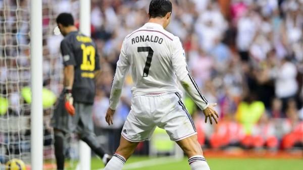 Cristiano Ronaldo Celebrates Scoring a Penalty Against Barcelona Last Weekend. Image: Getty.