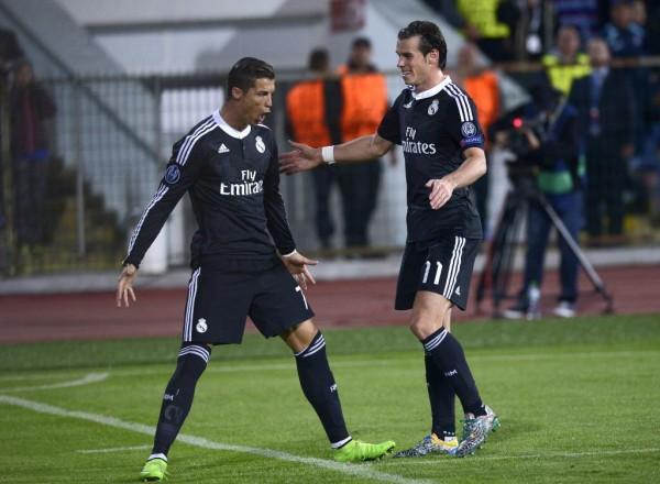 Cristiano Ronaldo and Gareth Bale Celebrate Champions League Goal at Ludogoret Razgrad.