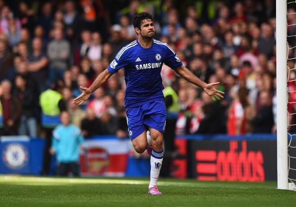 Diego Costa Celebrates His Ninth Premier League Goal At Stamford Bridge. Image: Getty.