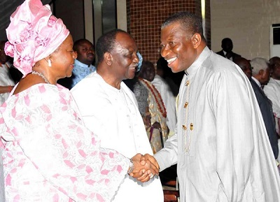 PRESIDENT GOODLUCK JONATHAN GREETS GEN.YAKUBU GOWON & HIS WIFE, VICTORIA, ON SUNDAY AT THE THANKSGIVING SERVICE TO MARK THE FORMER HEAD OF STATE'S 80TH BIRTHDAY (PHOTO CREDIT: REUBEN ABATI)