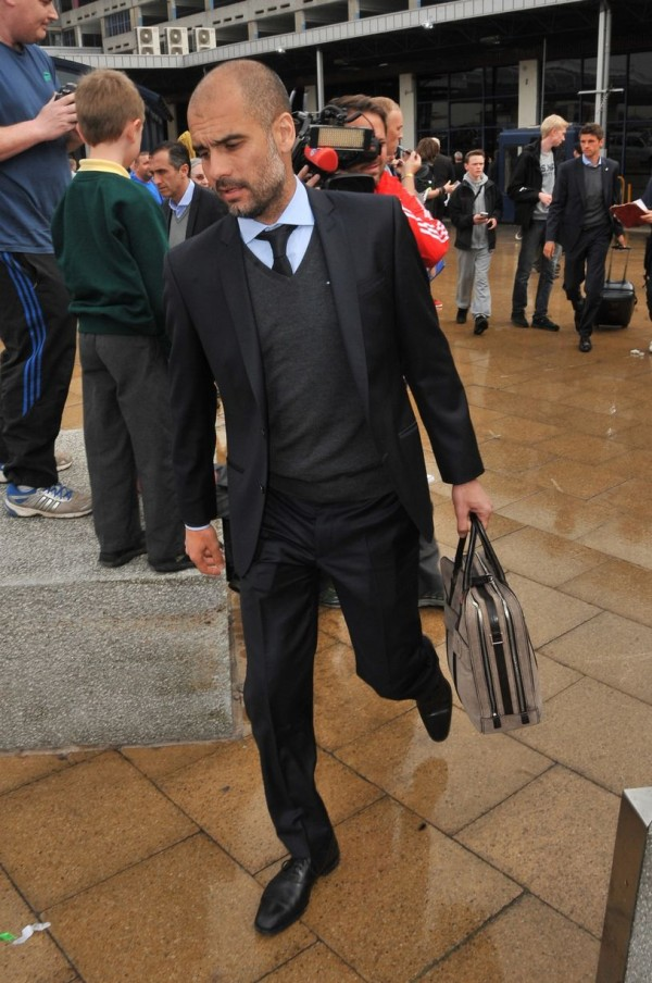 Guardiola Pictured on Arrival at the Manchester Airport for Last Season's Champions League Last 8 Tie Against United.