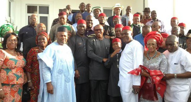 THE FORMER GOVERNOR OF ANAMBRA STATE, MR PETER OBI (MIDDLE), WITH PDP LEADERS FROM THE SOUTH-EAST, INCLUDING GOV. GODSWILL AKPABIO, SHORTLY AFTER OBI JOINED THE PDP AT HIS ONITSHA GRA RESIDENCE ON TUESDAY