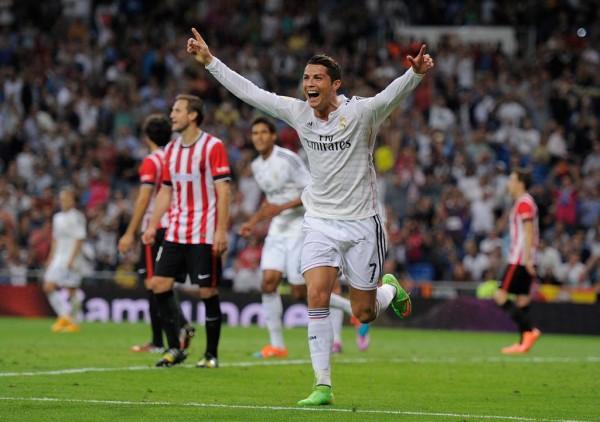 Cristiano Ronaldo Celebrates Goal vs Athletic Bilbao. Image: Getty.