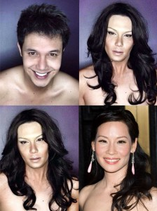 Male Actor Transforms Himself into Female Celebrities Using Makeup and Wigs