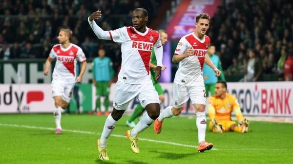 Ujah Celebrates Scoring for Cologne in a Bundesliga Match. Image: Getty.