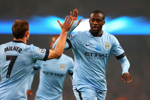 Yaya Toure and Team-Mates After Leveling for Manchester City. Image: AFP/Getty.
