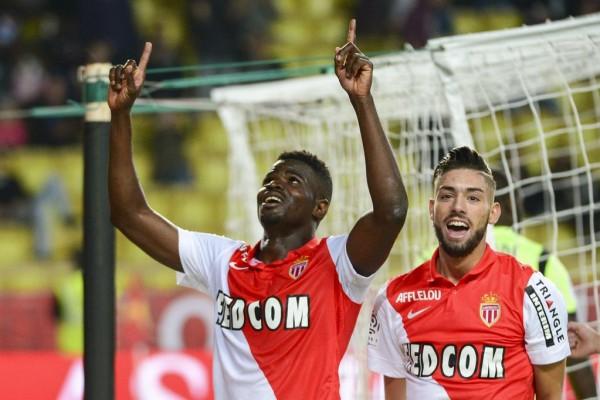 Elderson Echiejile Celebrates His First League Goal With Bernado Silva. Image: AS Monaco Via Getty.