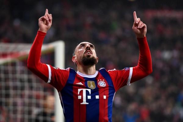 Franck Ribery Celebrates Scoring Bayern's Opener at the Allianz Arena. Image: Getty.