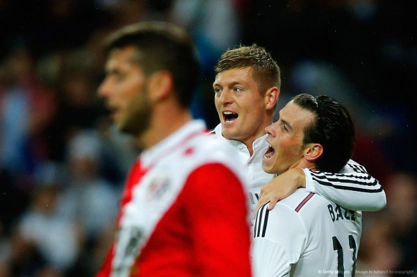 Gareth Bale Celebrate With Toni Kroos After Scoring Real's Opener Against Vallecano. Image: AP.